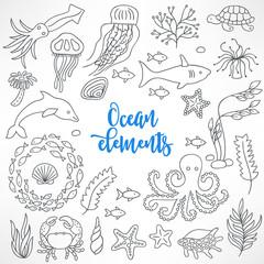 Set of hand drawn underwater animals