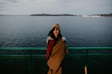 Woman posing on ferry
