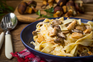 Tagliatelle pasta with forest mushrooms and chicken.
