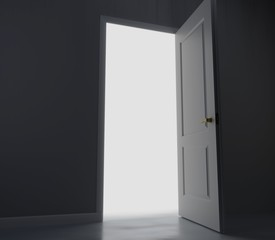 An open white door. Behind the door is a bright white light. 3D rendering