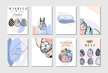 Set of Happy Easter greeting and invitation cards. White cute Easter Bunny peeking out of a hole, ribbon, eggs, inscription in the middle. Perfect for presents and gifts. Vector illustration.