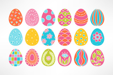 Set of Easter eggs. Floral ornaments, stripes, waves, dots, triangles