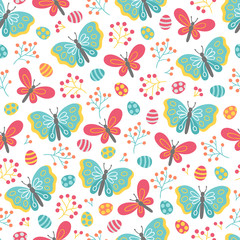 Easter seamless pattern with berries, butterflies and eggs