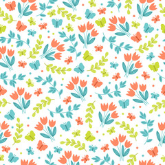 Easter seamless pattern with butterflies, tulips, and branches
