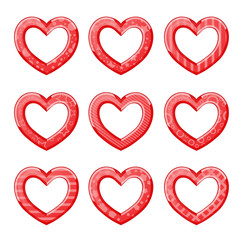 Funny hearts in red color