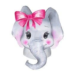 Watercolor elephant. Cute cartoon illustration, isolated on white background