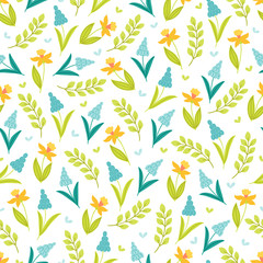 Seamless floral pattern with narcissus, branches and leaves