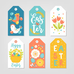 Set of Easter Gift Tags with hen, tulips, flowers