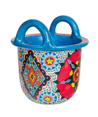 Handmade artistic pained colorful decorated pottery basket with two handles