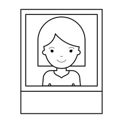 identification photo of woman with hair middle length in black silhouette