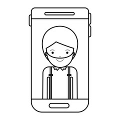 smartphone man profile picture with short hair and beard in black silhouette