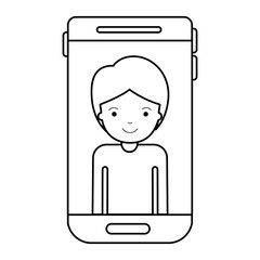 smartphone guy profile picture with short hair in black silhouette