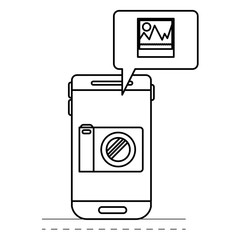 smartphone photo app and dialogue box in black silhouette