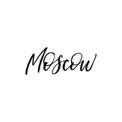 Hand drawn lettering card. The inscription: Moscow. Black and white.Perfect design for greeting cards, posters, T-shirts, banners, print invitations.