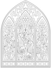 Black and white page for coloring. Fantasy drawing of beautiful Gothic windows with stained glass in medieval style.  Worksheet for children and adults. Vector image.