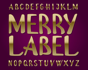 Merry Label typeface. Golden font. Isolated english alphabet.