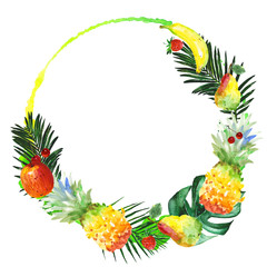 Exotic composition healthy food wreath in a watercolor style. Full name of the fruit:apple, pear, cherry, lemon, pineapple. Aquarelle wild fruit for background, texture, wrapper pattern or menu.