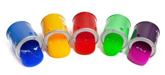 Bright colored tongues licks dropped out of cans on a white background. Toy anti-stress.