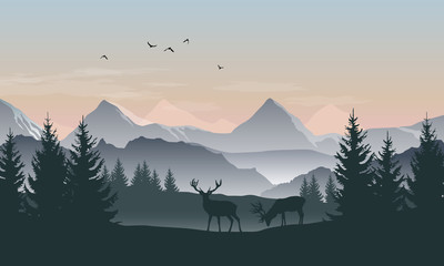 Fototapete - Vector landscape with silhouettes of mountains, trees and two deer with sunrise or sunset sky