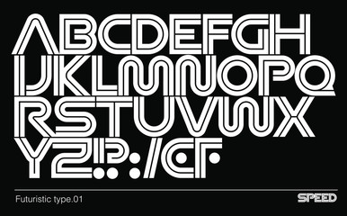 Futuristic sci-fi font. Modern geometric type