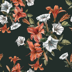 Floral seamless pattern with watercolor daylilies and datura flower