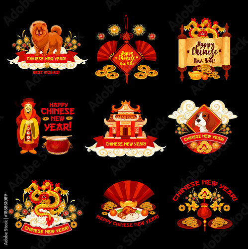 Chinese New Year vector decorations icons\