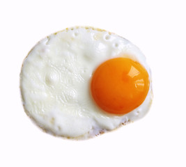 fried eggs isolated on white background, dairy product, expensive egg, protein concept