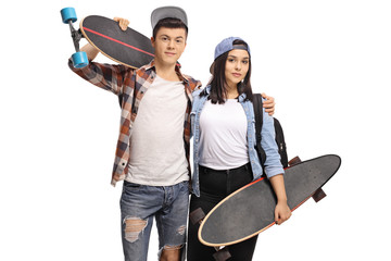 Teenage boy and a teenage girl with longboards