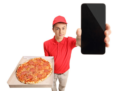Teenage pizza delivery boy showing a phone
