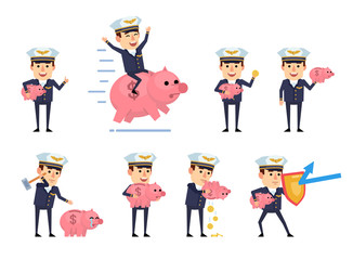 Set of handsome airline pilot characters posing with piggy bank. Cheerful pilot holding piggy bank, saving money, riding big pig and showing other actions. Flat style vector illustration