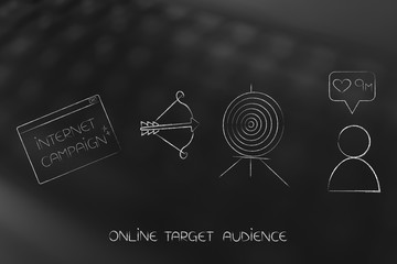 internet campaign pop-up message next to target and arrow and follower count