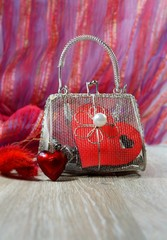 Valentine's Day in shades of red - heart and mesh bag