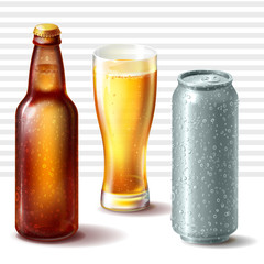 Set of vector illustrations of closed wet beer bottle of brown amber glass, full glass and cold aluminum can with water drops on it isolated on transparent background.