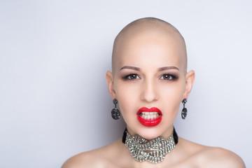 beauty bald woman