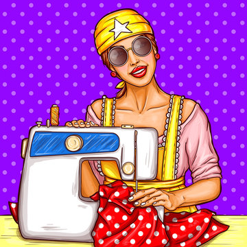 Vector pop art girl in sunglasses sew dotted dress on sewing machine. Young woman dressmaker, seamstress. Home needlework hobby, small textile busines. Illustration on vintage background