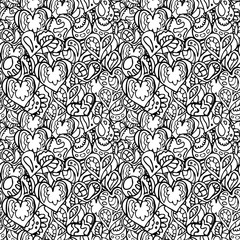 Hand drawn artistically ethnic ornamental patterned heart with romantic doodle elements of St. Valentine's day