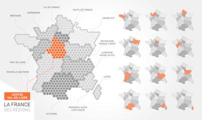 Carte de France et ses région vectoriel