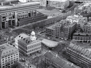 Aerial view of Boston in Massachusetts, USA showcasing the historic buildings at Government Center in the North End of the city.