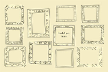 Hand drawn frames set. Cartoon greek style. Vector dividers, graphic High quality design elements set. Cute vintage borders
