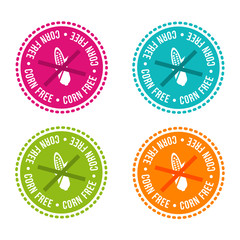 Wall Mural - Set of Allergen free Badges. Corn free. Vector hand drawn Signs. Can be used for packaging Design.
