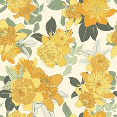 Bright Yellow Daisy Seamless Vector Pattern