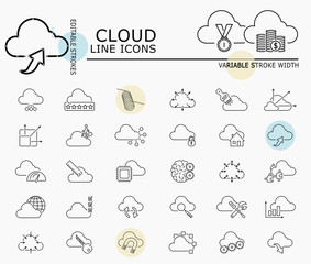 Cloud line icons with minimal nodes and editable stroke width and style