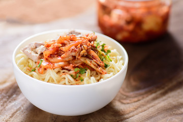 Korean food,instant noodle with kimchi cabbage in a bowl