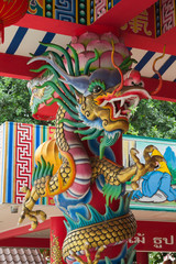 Bangkok / Thailand - October 3, 2017: Dragon statue in Chinese style of general temple roof in Thailand.