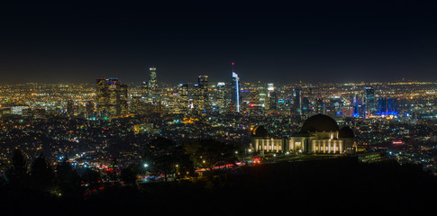 Griffith Observatory at Night with Los Angeles Skyline