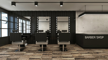 Barber shop design Loft -3D render