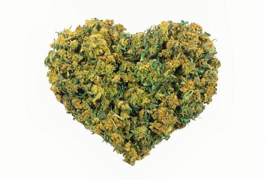 Marijuana heart shape