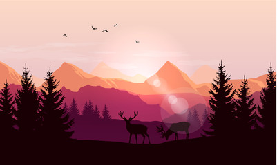 Fototapete - Vector landscape with silhouettes of mountains, trees and two deer with sunrise or sunset sky and lens flares