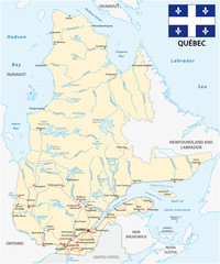 Province quebec road vector map with flag