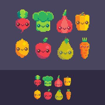 Pixel art vector cute vegetables and fruits set.